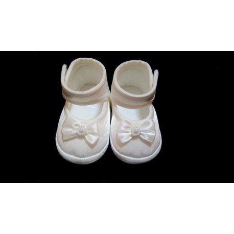 Baby Girls Christening/Occasion Ballerina Shoes with Satin Bow in Ivory BIS