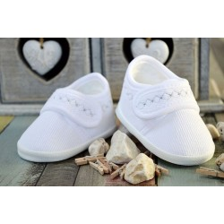 Corduroy Baby Boys Christening/Baptism White/Silver Shoes Style M008