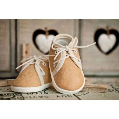 Beige Suede Christening Shoes Style M005