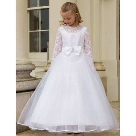 First Holy Communion Ballerina Length Full Sleeves Dress Style ALEXIA