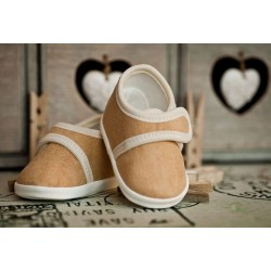 Suede Beige Christening Shoes M008