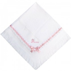 White Christening/Baptism Blanket with Pink Details style Princess01