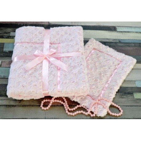 Pink Blanket & Pillow Set with Trimming