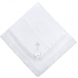 White Christening/Baptism Blanket with Silver Cross style Silver01