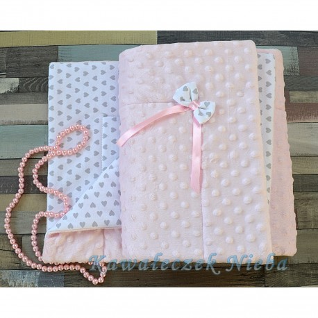 Pink/White/Gray Baby Girl Blanket Style GRAY HEARTS