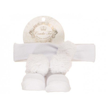 White Baby Girl Socks and Headband Set with Cute Pompons style 3570