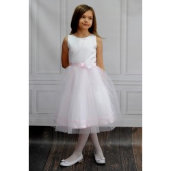 White/Pink Ballerina Length Handmade First Holy Communion Dress Style ELENA