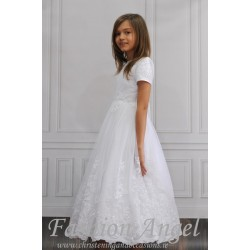 White Satin&Tulle Handmade First Communion Dress with Embroidery Brenda