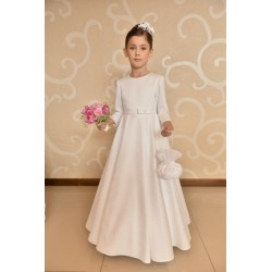 Amazing Roses Print Satin Communion Dress style J7