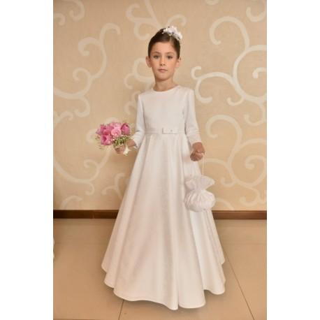 Amazing Roses Print Satin Communion Dress style J7