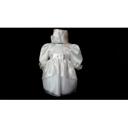 Christening Satin Baby Girl Dress in White style Kaja
