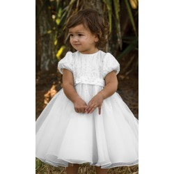 Sarah Louise White Christening Ballerina Length Dress Style 070079-1