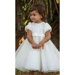 Sarah Louise Ivory Christening Ballerina Length Dress Style 070079-1