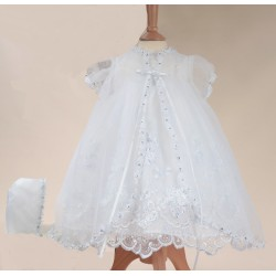 Sevva White Christening Dress, Overlay & Bonnet Style 208