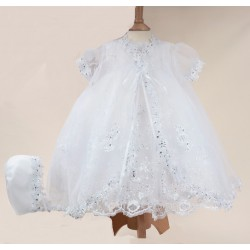 Sevva White Christening Dress, Overlay & Bonnet Style 396