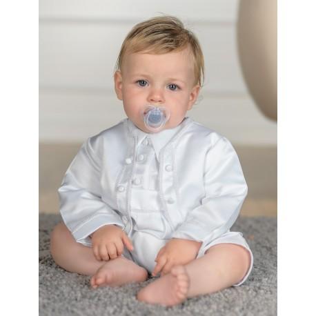Sevva Baby Boy 3 Piece White Christening Romper Style PETER