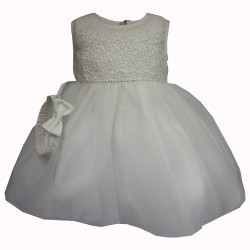 Sevva Beautiful Ivory Christening Dress & Headband Style ROSE