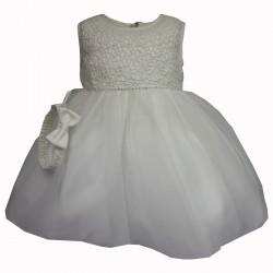 Sevva Beautiful Ivory Christening Dress & Headband Style ROSE
