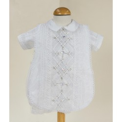 Sevva White Baby Boy Romper with Tabard & Bonnet Style ALEXANDER