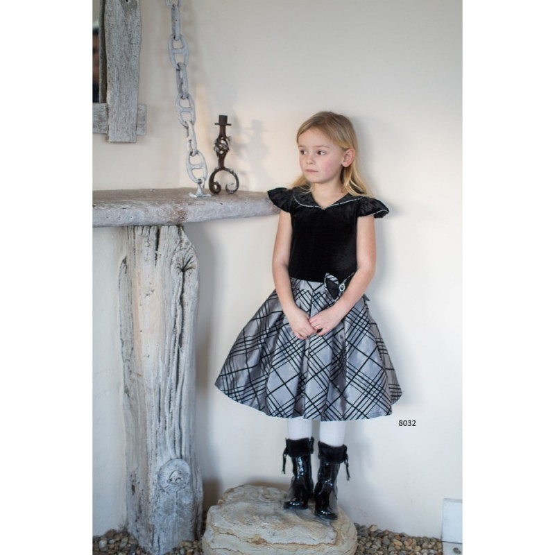 Christmas Special Occasion Black Velvet Checkered Skirt Dress