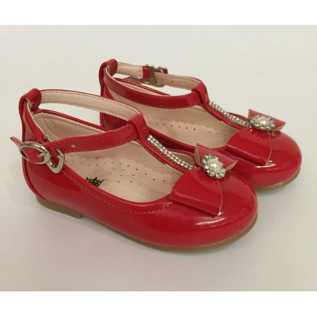 Red Leather Special Occasions Shoes Style 4378