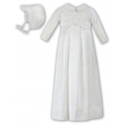 Sarah Louise Christening Ivory Baby Boy Gown with Bonnet Style 001176