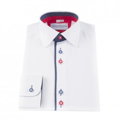 White Formal Shirt with Navy and Red Accents Style M 3