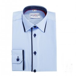 Blue Formal Shirt with Navy Accents Style M 6