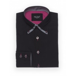 Boys Formal Black Suit Shirt Double Collar Style B214