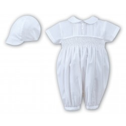 Sarah Louise Baby Boy Christening White Romper with Bonnet Style 002200S