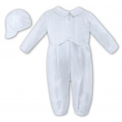 Sarah Louise Christening White Long Sleeves Baby Boy Romper with Bonnet Style 002217