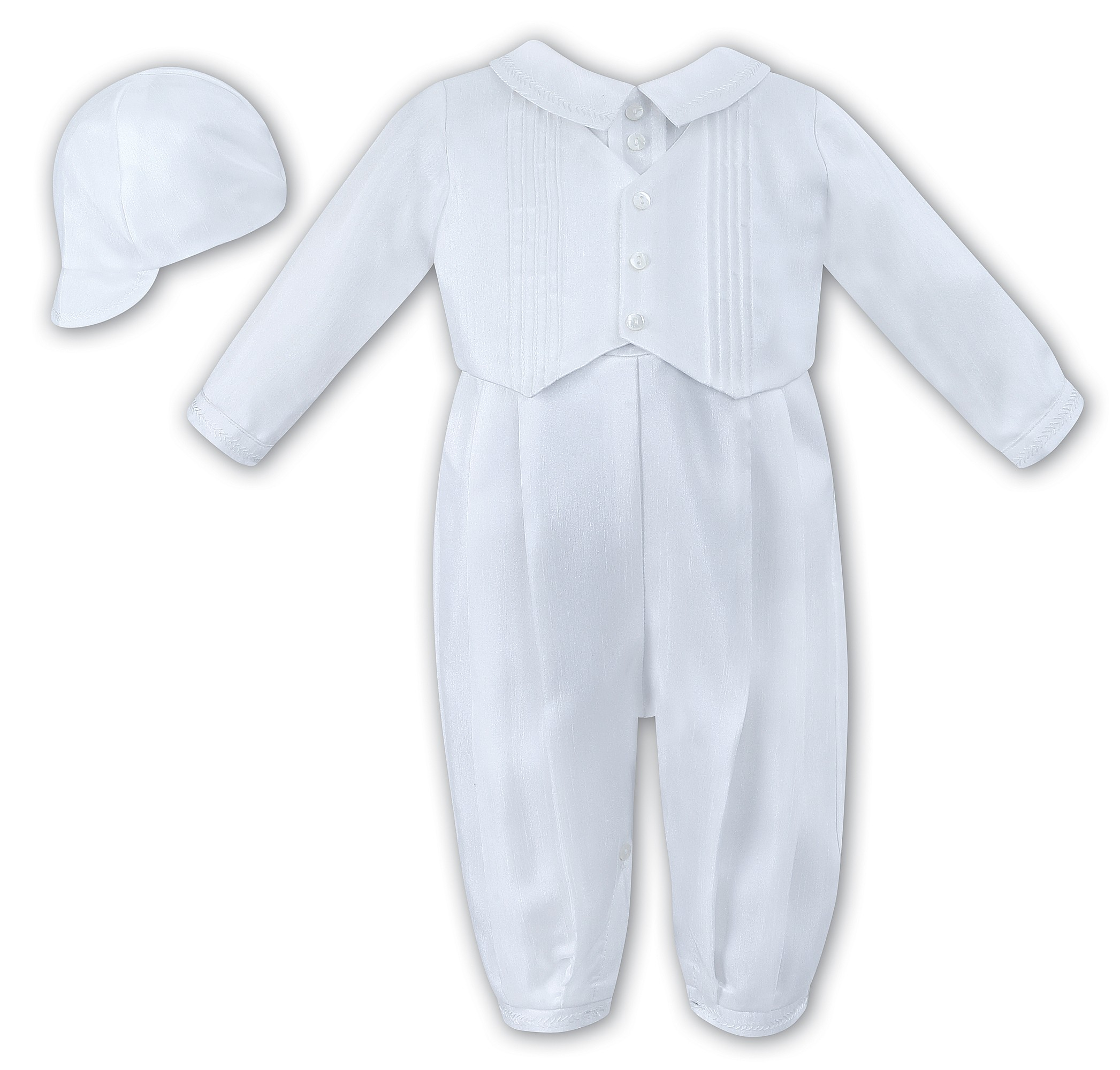 Sarah Louise Christening White Long Sleeves Baby Boy Romper with Bonnet  Style 002217 b764b0e93