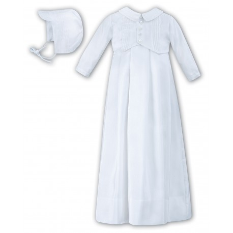 Sarah Louise Christening White Baby Boy Gown with Bonnet Style 001176