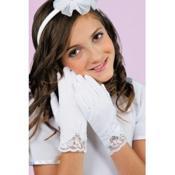 White Mat Satin First Holy Communion Gloves K-82