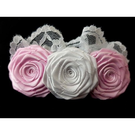 White/Pink Christening/Special Occasion Headband Style 437