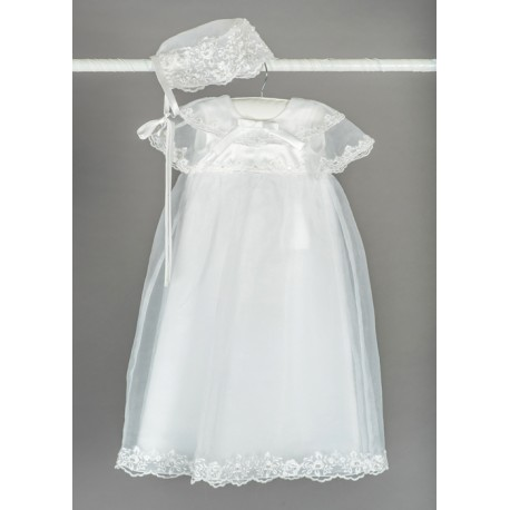 White Baby Girls Christening Gown with Bonnet Style BT025