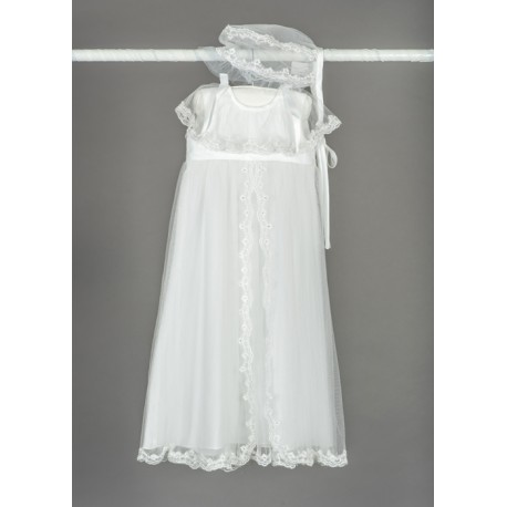 Beautiful Baby Girls White Christening/Baptism Gown with Bonnet Style BT022