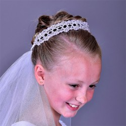 Beautiful First Holy Communion Headpiece with Veil Style F339W