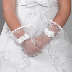 White Lace First Holy Communion Gloves Style 9800-45-2W