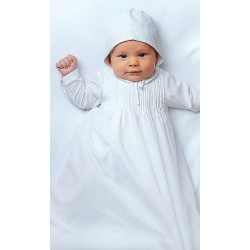 Sarah Louise Baby Boy White Gown with Bonnet Style 001175L
