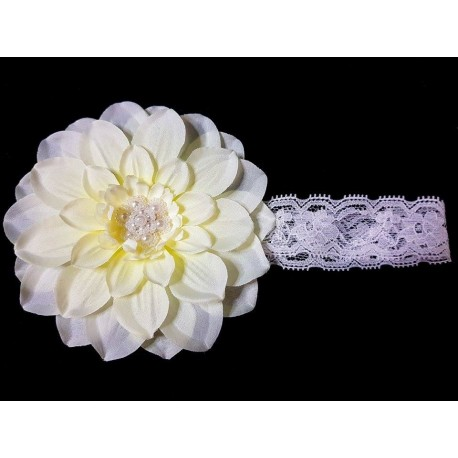 White/Ivory Christening/Special Occasion Headband Style 386b