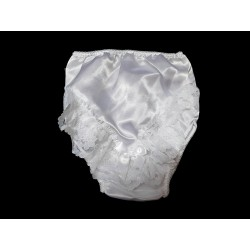 White Baby Girls Christening Satin Frilly Knickers Style 2Frill
