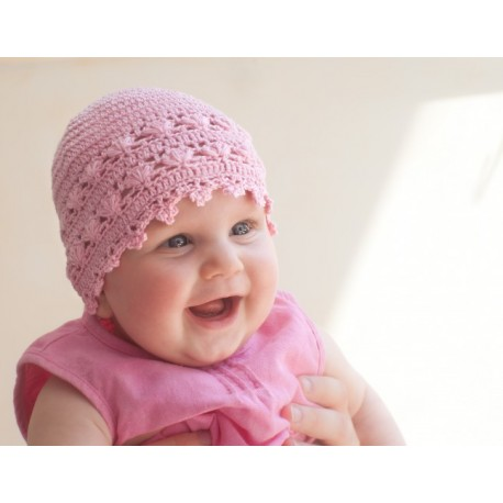 Baby Girls Crochet Christening/Special Occasion Pink Bonnet Style SOPHIE