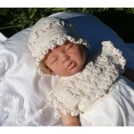 Baby Girls Christening/Special Occasion Ivory Crochet Bonnet Style IVORY FLOWER