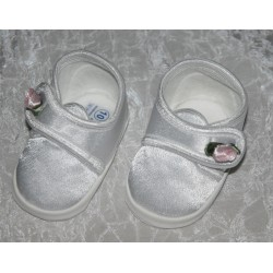 Christening Satin Shoes with Rose M008