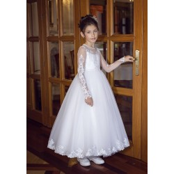 Handmade Long Sleeves First Holy Communion Dress Style B08
