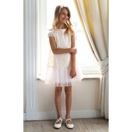 Salmon Pink Lace Confirmation Dress 4/SM/18