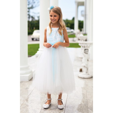 White&Light Turquoise Confirmation Dress 5/SM/18