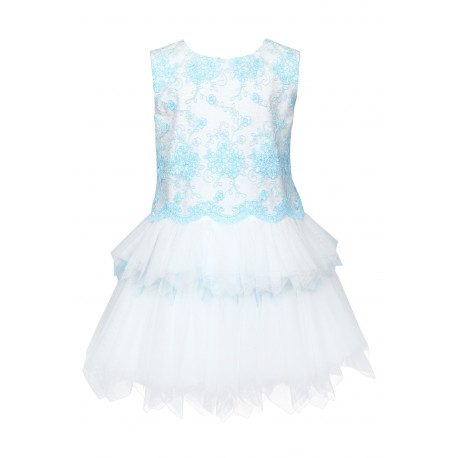 Ivory&Light Turquoise Confirmation Dress 6/SM/18