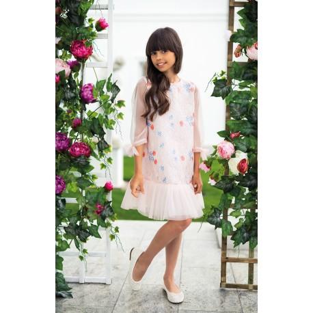 Salmon Pink Lace Confirmation Dress 16/SM/18